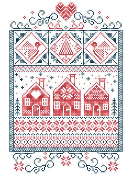 elegante skandinavische weihnachten, nordischen stil winter naht, muster einschließlich schneeflocke, herz, schwedischen stil lebkuchenhaus, weihnachtsbaum, geschenk, schnee, robin, schneeflocke, stern in rot blau - gehäkelte lebensmittel stock-grafiken, -clipart, -cartoons und -symbole