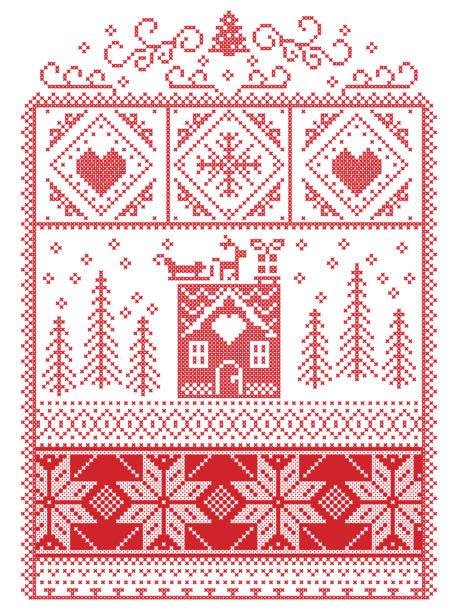 elegante skandinavische weihnachten, nordischen stil winter naht, muster einschließlich herz, rentier, schlitten, schneeflocke, lebkuchenhaus, weihnachtsbaum, geschenk, schnee in dekorativen rahmen rot - gehäkelte lebensmittel stock-grafiken, -clipart, -cartoons und -symbole