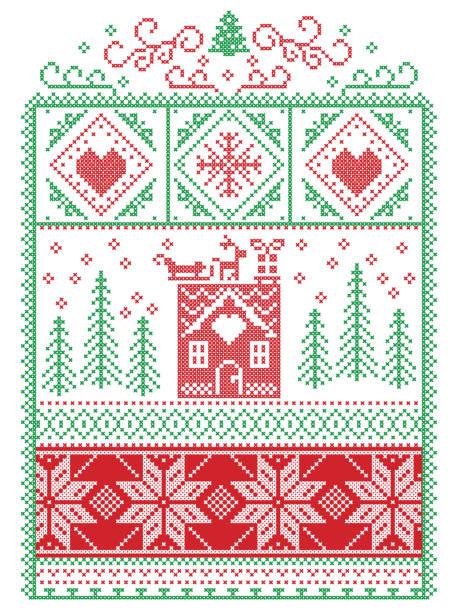 elegante skandinavische weihnachten, nordischen stil winter nähte, einschließlich schneeflocke, herz, rentier, schlitten, lebkuchenhaus, weihnachtsbaum, geschenk, schnee-muster in rot, grün, in zierrahmen - gehäkelte lebensmittel stock-grafiken, -clipart, -cartoons und -symbole