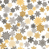 Elegant Merry Christmas seamless pattern with gold an gray different snowflakes. Outline colorful snowflakes on white background. Perfect for winter season wallpaper, wrapping paper or textile vector illustration.