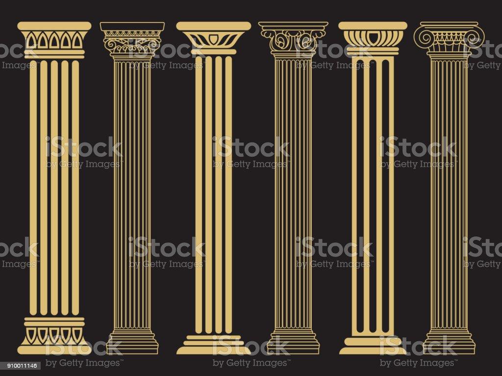 Elegant Classic Roman Greek Architecture Line And Silhouette