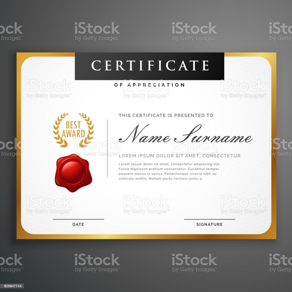 Elegant Marriage Certificate Template Golden Edition: Elegant Clean Certificate Template Layout Design With