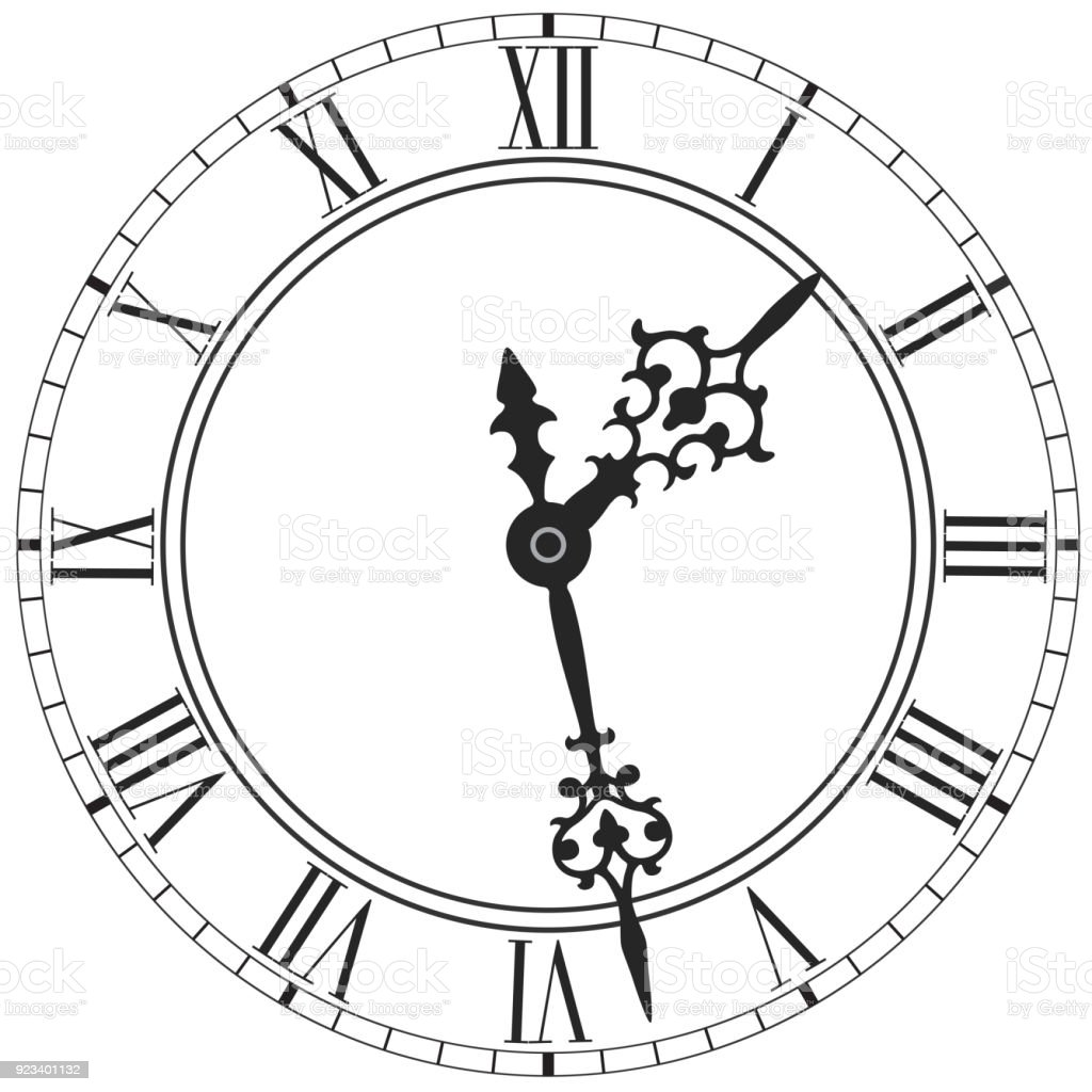 elegant clock face with roman numerals placed on white stock vector