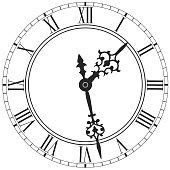 Elegant clock face with roman numerals placed on white