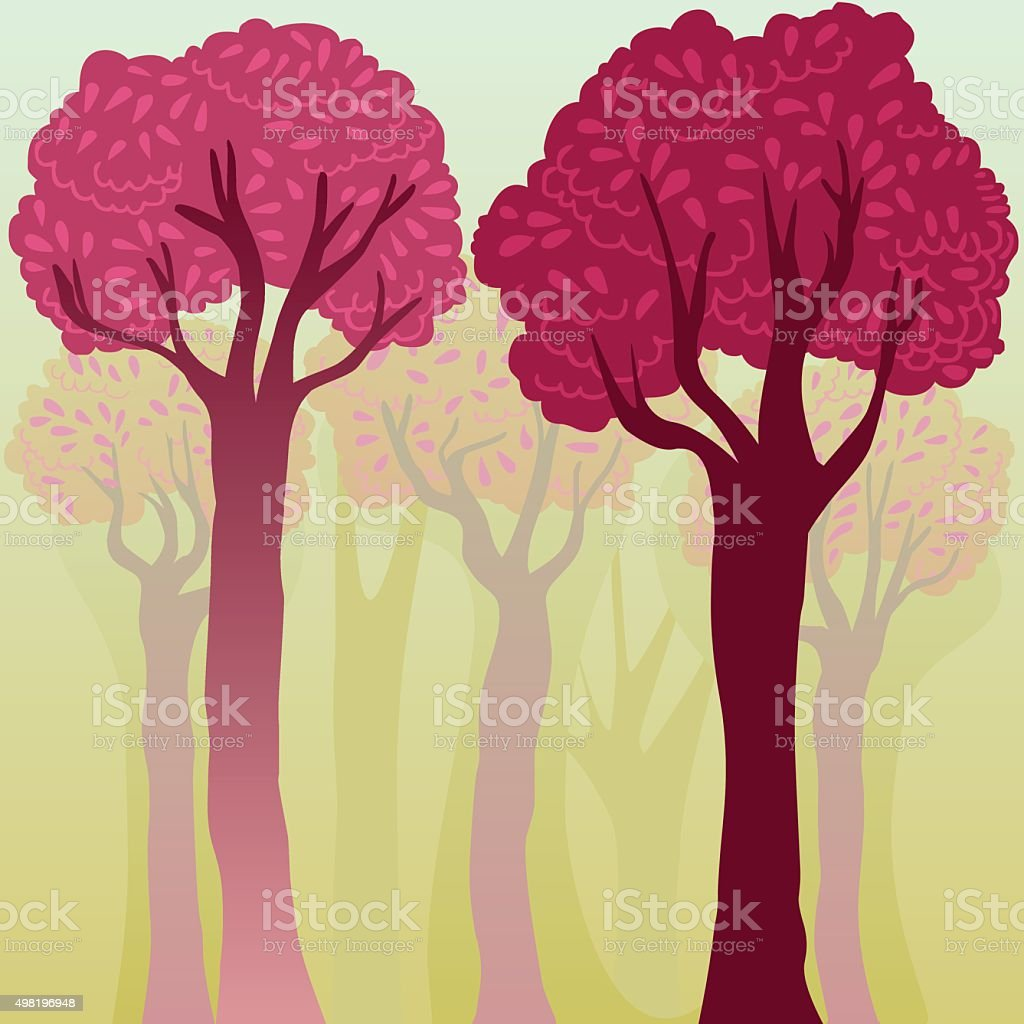 elegant colorful background with trees vector art illustration