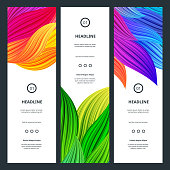Elegant Colorful Banners with Flowers Petals