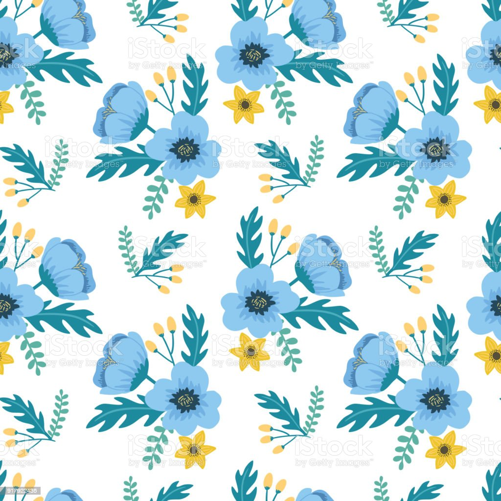 Elegant Colorful Seamless Floral Pattern With Blue And Yellow