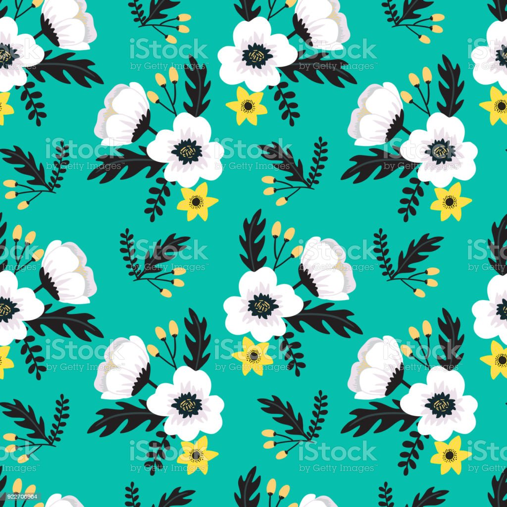 Elegant Colorful Seamless Floral Pattern With White And Yellow