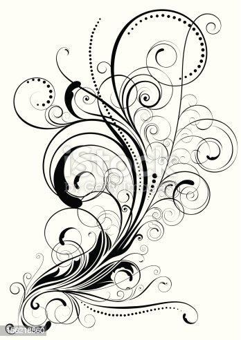 Elegant Colorless Swirl Floral Design Stock Vector Art