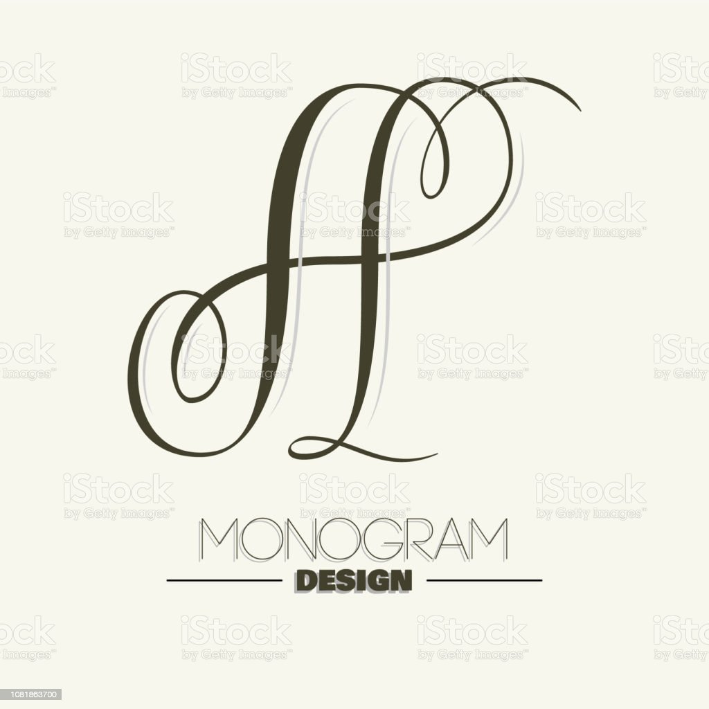 Elegant copperplate style letter A monogram vector art illustration