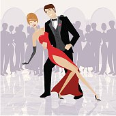 An elegant couple dancing in a ballroom. No gradients were used when creating this illustration.