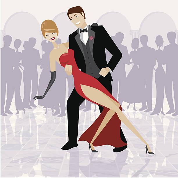 Couple élégant danse dans la salle de bal - Illustration vectorielle