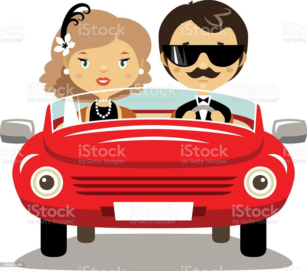 Elegant couple in a car vector art illustration
