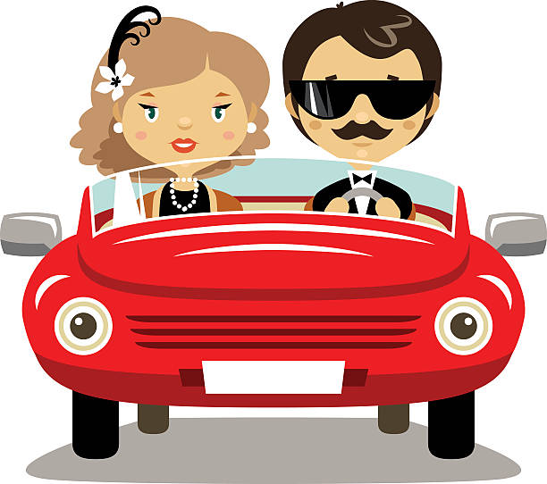 bildbanksillustrationer, clip art samt tecknat material och ikoner med elegant couple in a car - middle aged man dating