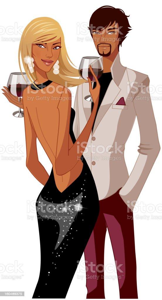 Elegant couple vector art illustration
