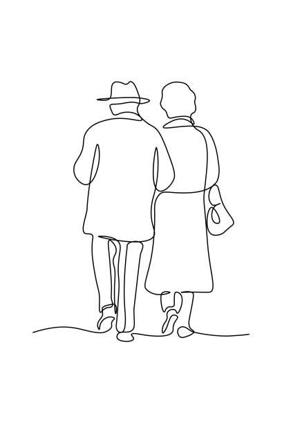 一緒に歩くエレガントなカップル - 老夫婦点のイラスト素材/クリップアート素材/マンガ素材/アイコン素材