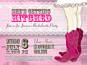 istock Elegant Cowgirl or country western bachelorette party invitation design template 527581659