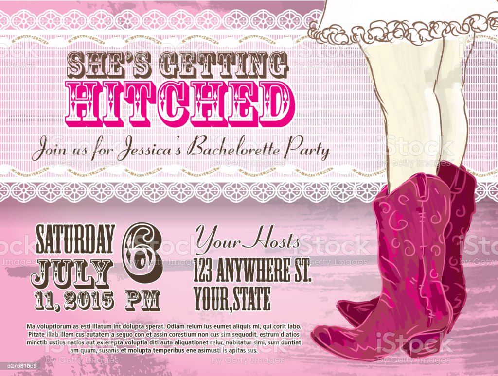 Elegant Cowgirl or country western bachelorette party invitation design template vector art illustration