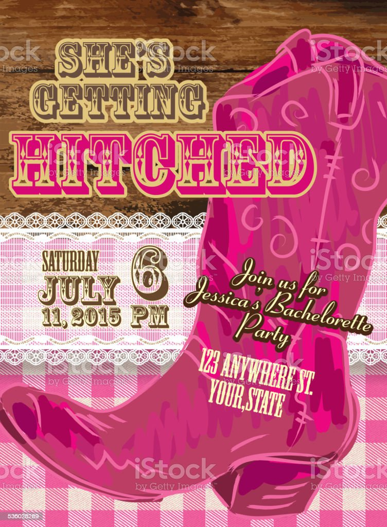 Elegant Cowgirl Or Country Western Bachelorette Party Invitation ...