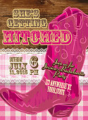istock Elegant Cowgirl or country western bachelorette party invitation design template 536028289