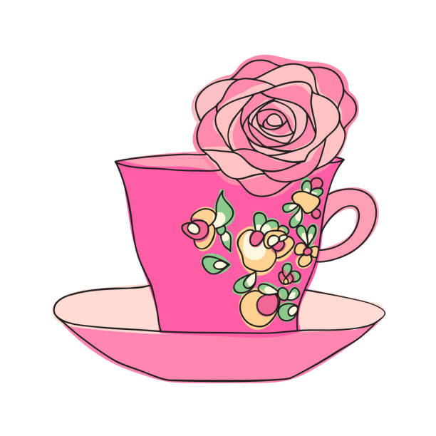 elegant cup and flower - stacked tea cups stock illustrations, clip art, cartoons, & icons