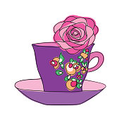 elegant cup and flower
