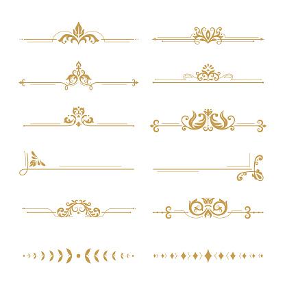 Elegant damask dividers. Vintage boutique flower divider, gold floral ornament and wedding book frames design elements. Ornate victorian style royal golden dividers. Vector isolated signs set