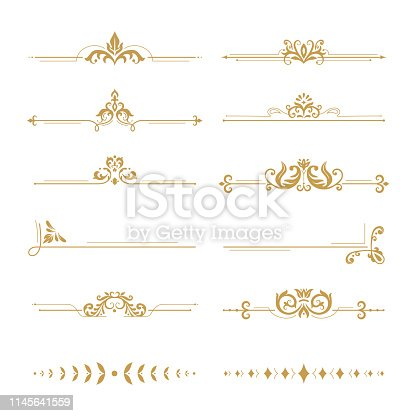 Elegant damask dividers. Vintage boutique flower divider, gold floral ornament and wedding book frames design elements. Ornate victorian style royal golden dividers. Vector isolated signs set