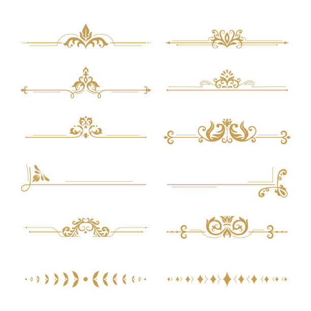 stockillustraties, clipart, cartoons en iconen met elegante damast verdelers. vintage boutique bloem divider, goud bloemen ornament en bruiloft boek frames design elements vector set - barokstijl