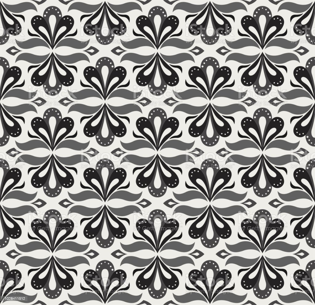 Vector floral damask seamless pattern. Elegant abstract art nouveau...