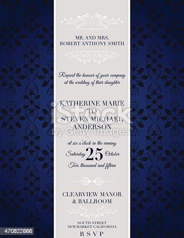 istock Elegant damask Wedding Invitation Template 470822666
