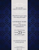 Elegant damask event invitation template. Four layers for easier editing. Floral lace pattern in background with a curved frame on left side for text. Design is horizontally oriented. Silver and Blue