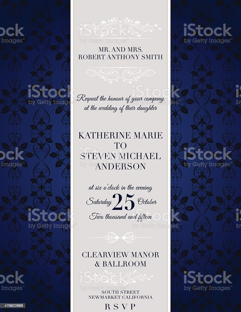 Elegant damask Wedding Invitation Template vector art illustration