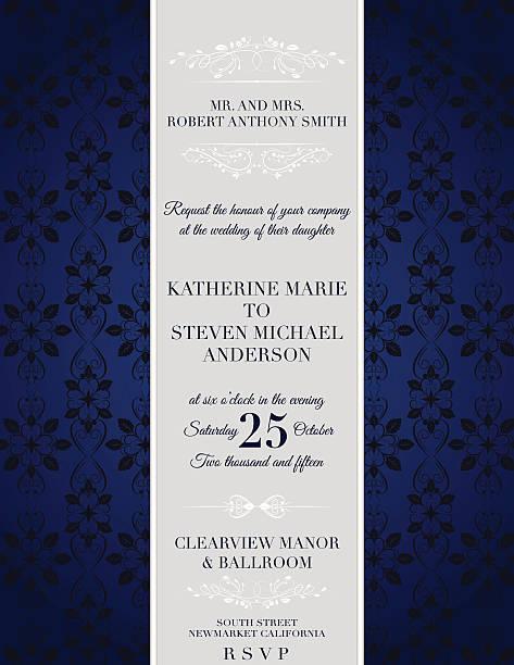 elegant damask wedding invitation template - black tie events stock illustrations, clip art, cartoons, & icons