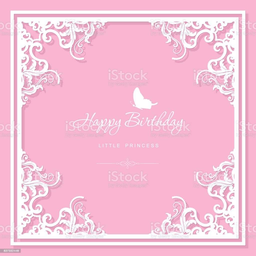 Birthday Greeting Card Template Filigree Laser Cutting Design For Wedding