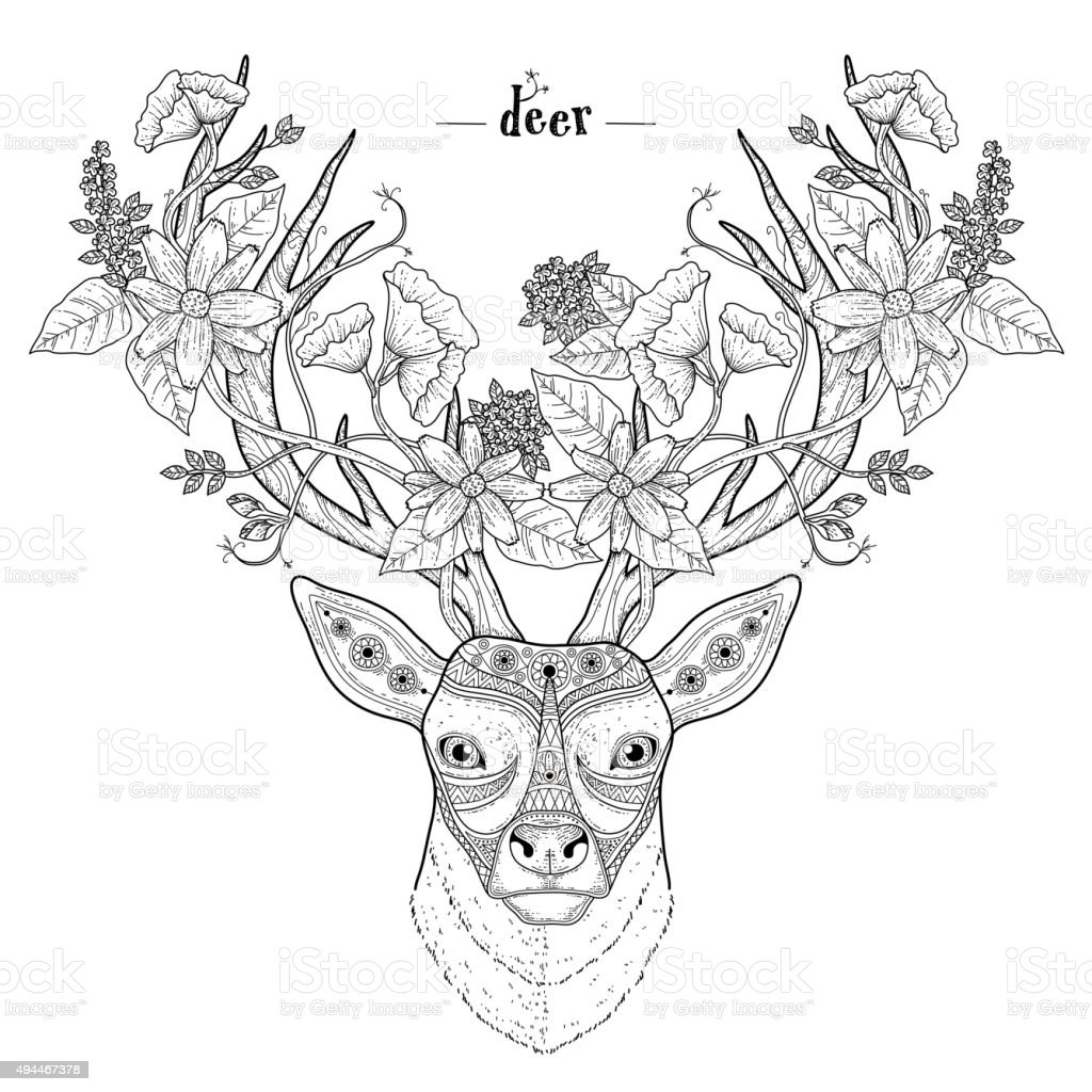 Elegant Deer Head Stock Vector Art & More Images of 2015 494467378 ...