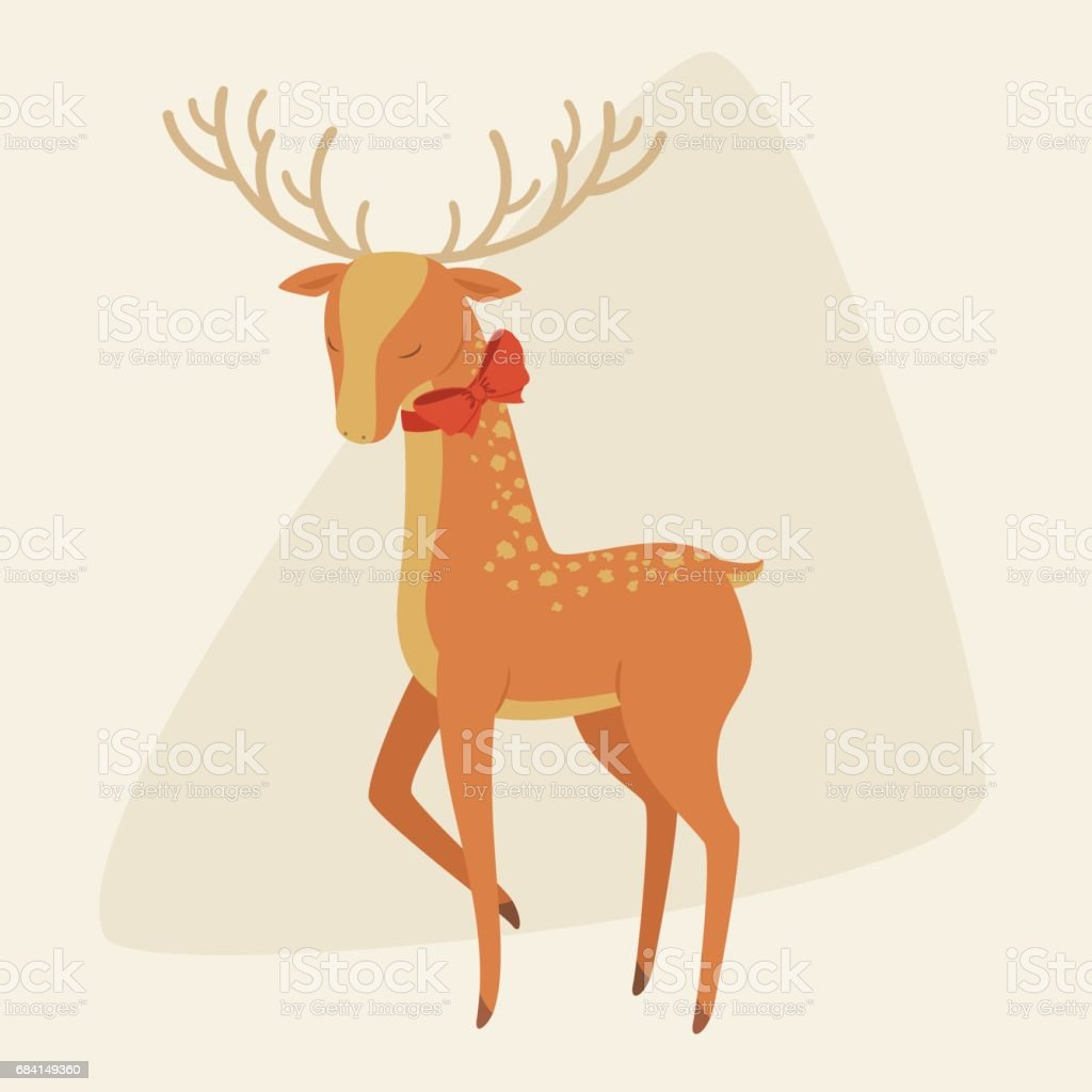 Elegant deer with a bow on his neck elegant deer with a bow on his neck - immagini vettoriali stock e altre immagini di adulto royalty-free