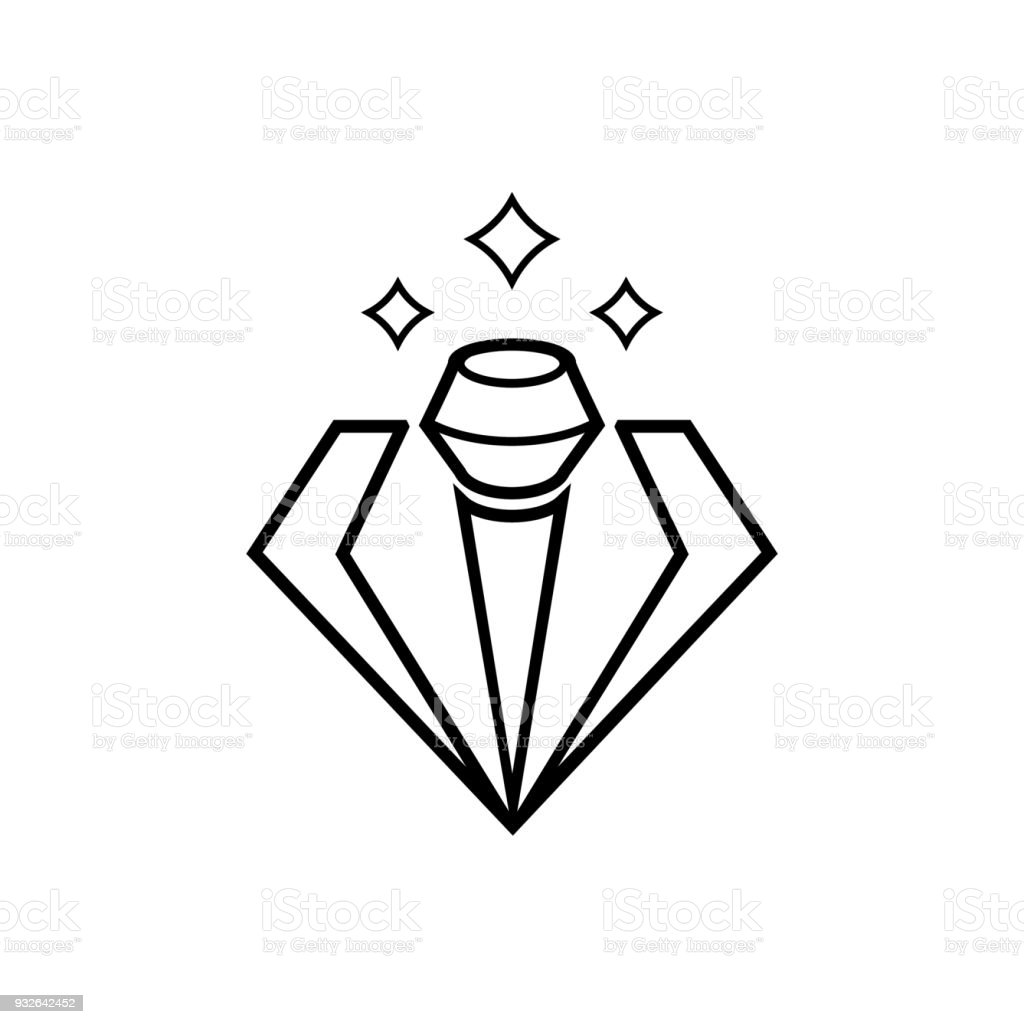 elegant diamond microphone line vector illustration vector art illustration