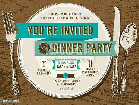 istock Elegant dinner party invitation design template placesetting on oak background 482690489