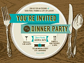 Vector illustration of a casual dinner party invitation. Includes sample text design, decorative silverware and plate on a wooden background. Small cocktail glass icon and spoon and fork icon. Download includes Illustrator 8 eps, high resolution jpg and png file.