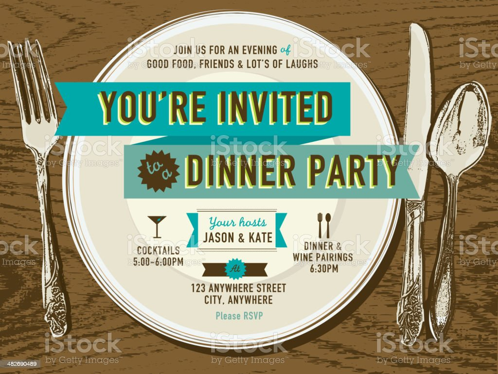 Elegant dinner party invitation design template placesetting on oak background vector art illustration