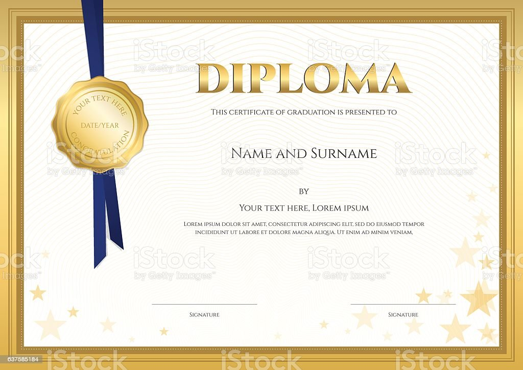 elegant diploma certificate template forcompletion with gold border