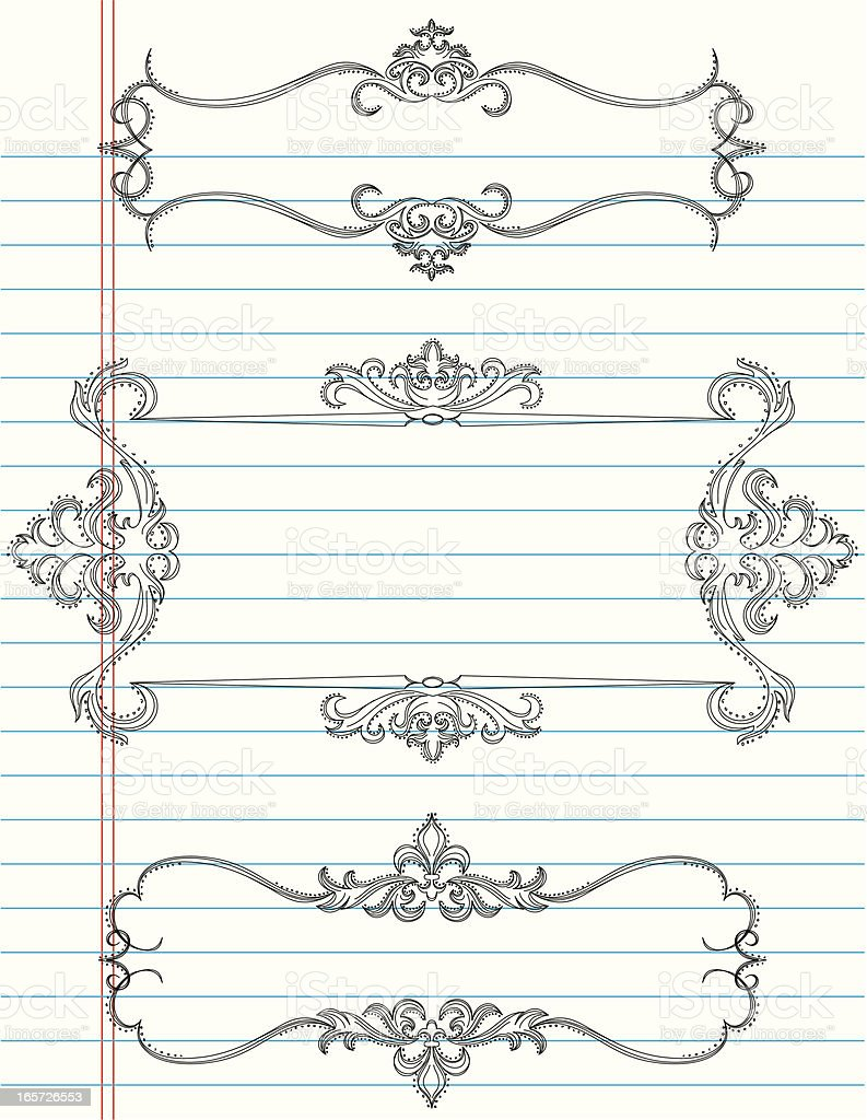 elegant doodle frames royalty-free stock vector art
