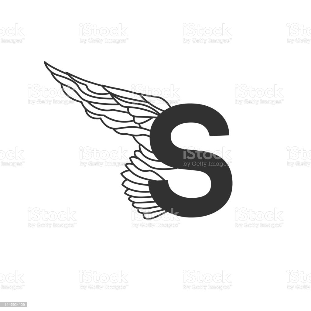 Elegant Dynamic Flying Letter S With Wing Linear Design Can