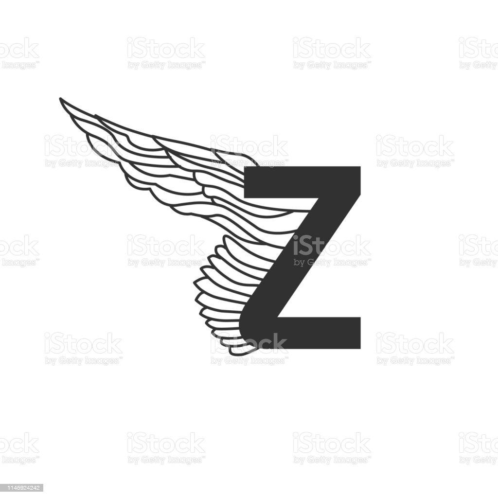 Elegante Dynamische Letter Z Met Vleugel Lineair Ontwerp Kan