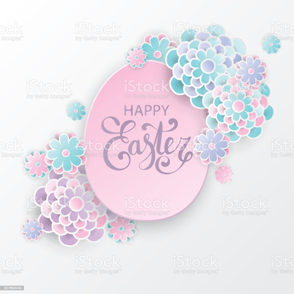 Elegant Easter Background With 3d Paper Flowers And Easter Egg