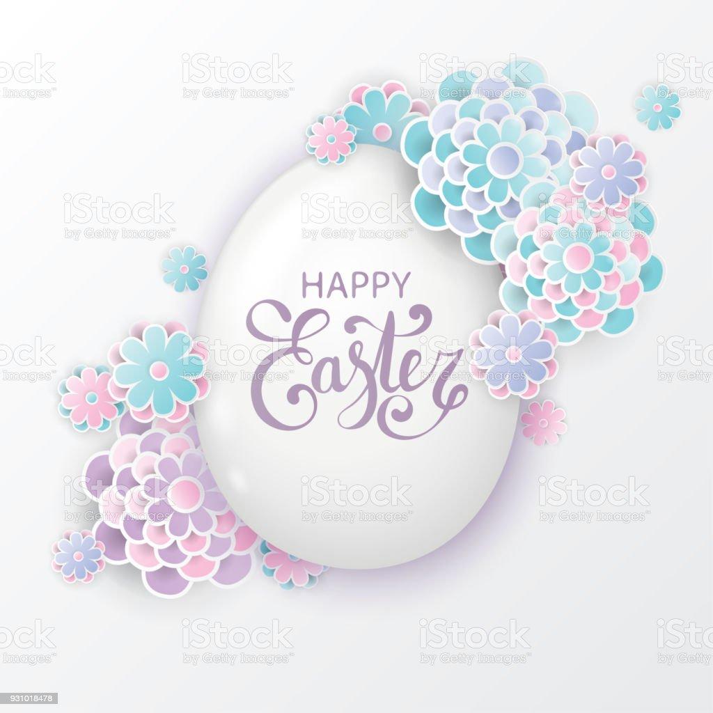 3d kağıt çiçekler ve Paskalya yumurtası ile zarif Paskalya arka plan. Tatil modaya uygun bir tasarım. Modern origami kağıt sanat tarzı vektör sanat illüstrasyonu