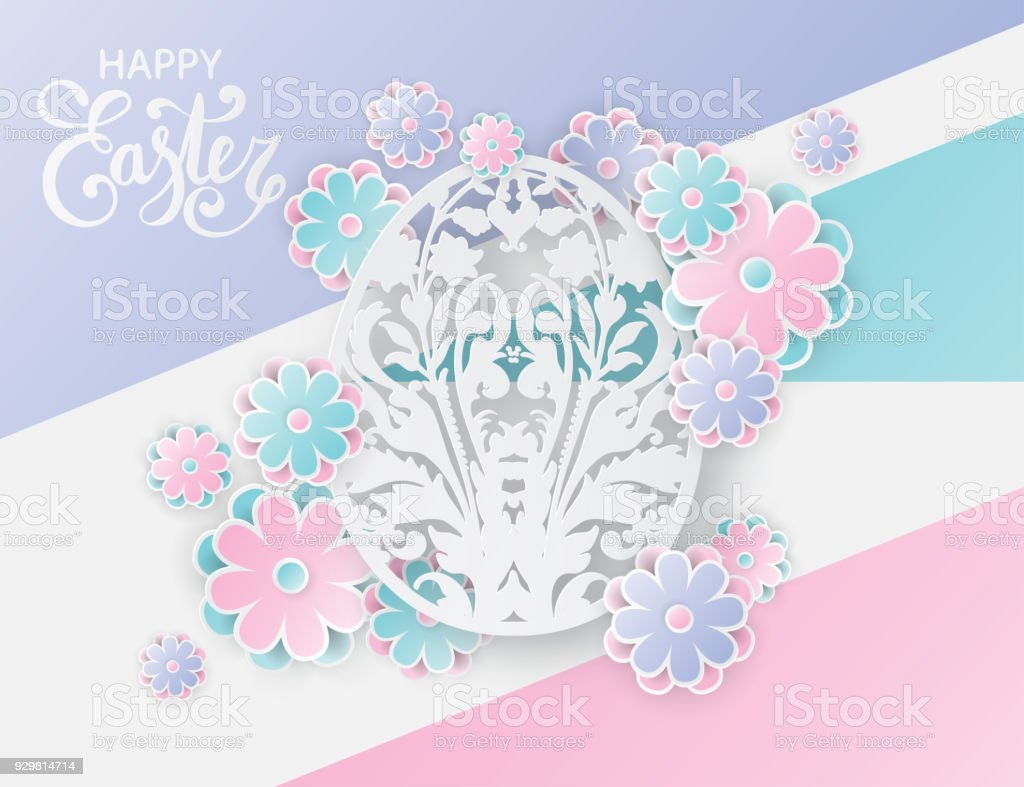 Elegant Easter Background With 3d Paper Flowers And Ornate Easter