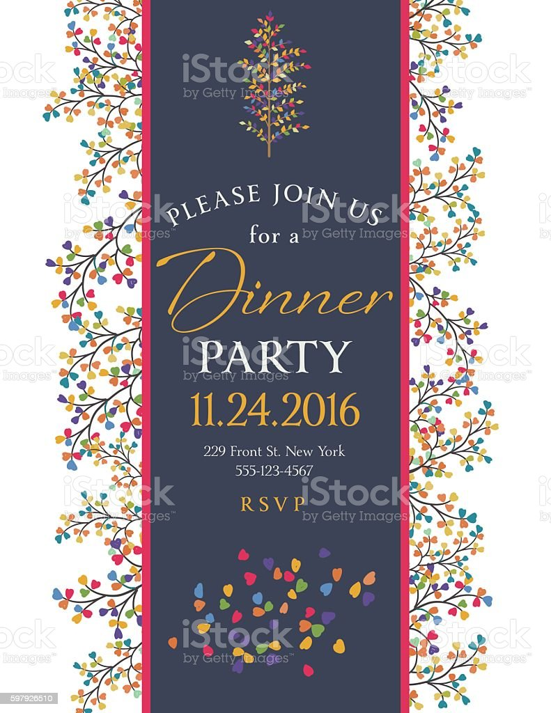 Elegant Fall Dinner Party Invitation Template Stockowe