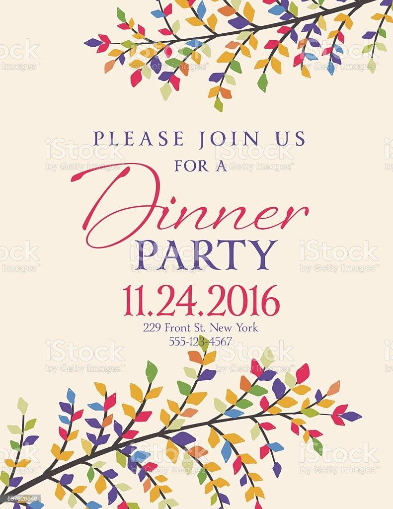 elegant fall dinner party invitation template stock vector art